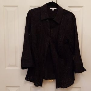 JM Collection Black sheer like button down Blouse